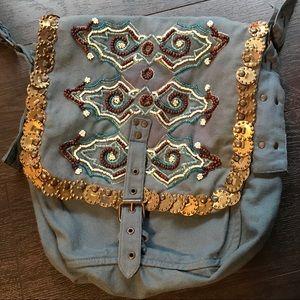 H&M tribal/boho blue beaded over the shoulder bag